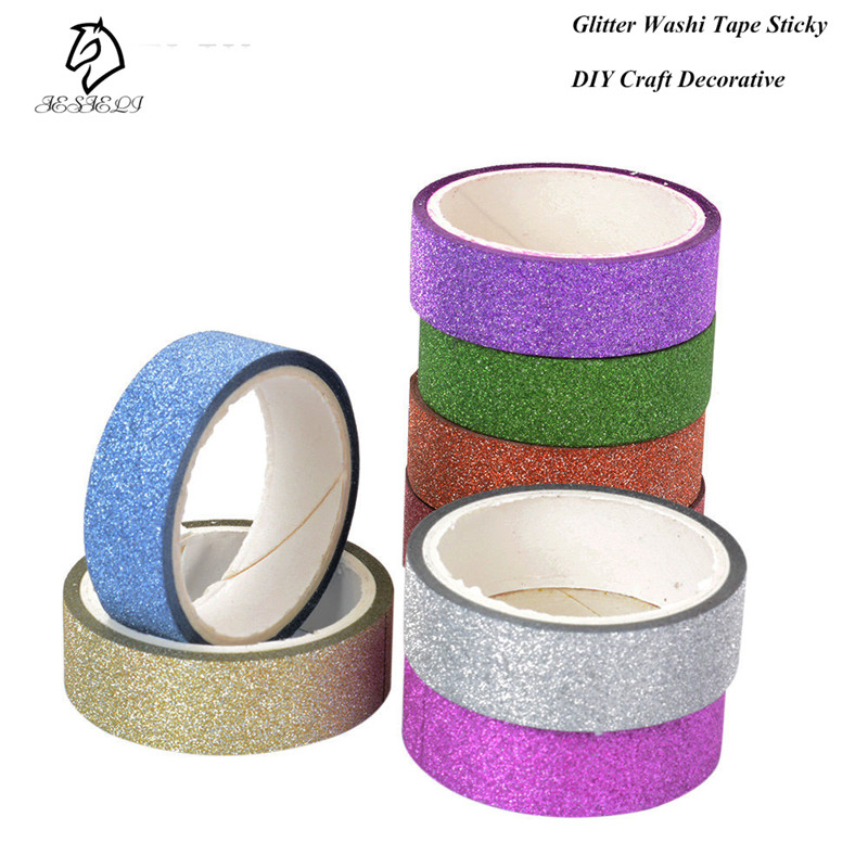 New Arrival Adhesive Silver Golden Glitter Washi Tape Scrapbooking Christmas Party Kawaii Cute Decorative Paper Crafts Hot Sale new foil washi tape point dot set adhesive kawaii scrapbooking tools for photo album cute decorative christmas gift paper crafts