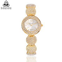 SOUSOU Rose Gold Women Watch Luxury Brand 30M Waterproof Fashion Diamond Heart Women S Quartz Bracelet
