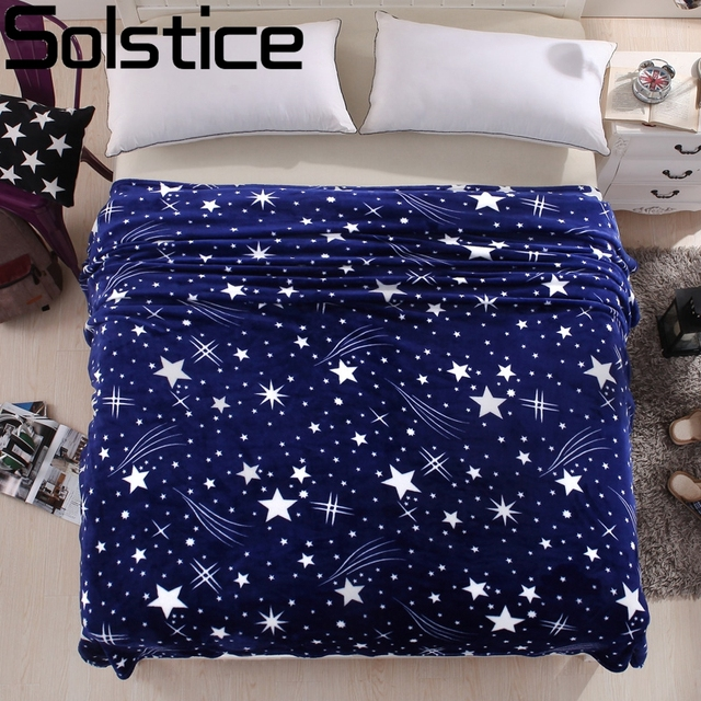 Winter Bed Sheets Coral Velvet Warm Blanket Blue Star Adult Single And  Double Bed Blankets Fleece