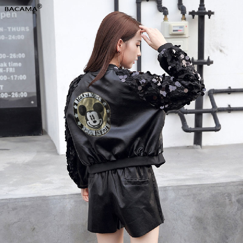 Mickey Mouse Sequin Streetwear Black PU   Leather   Coats Women Jacket 2019 new Embroidery   Leather   Brand Coat Long Sleeve Outwears
