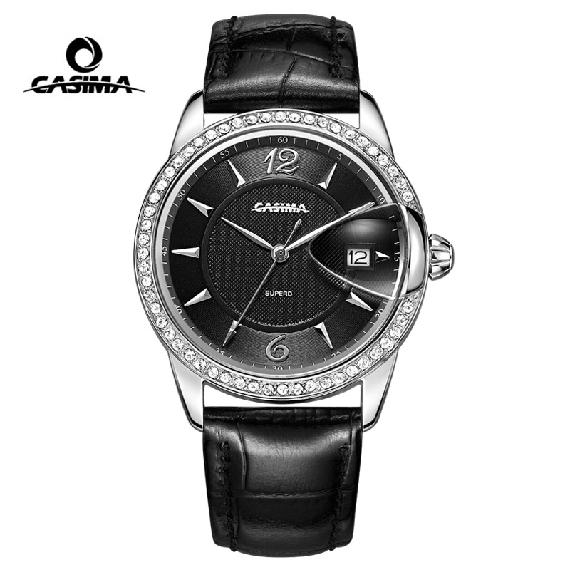 CASIMA Women Watches Waterproof Fashion Crystal Ladies Quartz Wrist Watch Clock Leather Strap Calendar Saat Relogio Feminino casima brand women watches waterproof fashion casual rose gold bracelet quartz ladies wrist watch clock saat relogio feminino