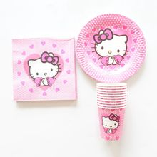 40pcs/lot Baby Shower Tissues Kids Favors Paper Plates Cups Hello Kitty Dishes Glass Birthday Party Decoration Napkins Supplies(China)