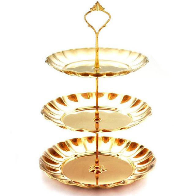 1 Pcs Stainless Steel Cake Stand 2 / 3 Tier Candy Fruits Cakes ...