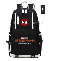 Spider Man Far From Home Backpack USB Charging School Bags Comics Cosplay Kids Teens Shoulder Laptop Travel Bags Gift