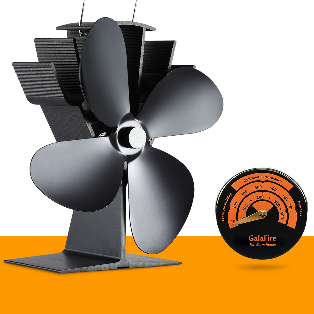 Stove Thermometer + Best Seller Eco Wood Stove Fan Heat Powered Stove Fan free shipping cheap heat powered stove fan in black gold silver coppery blade
