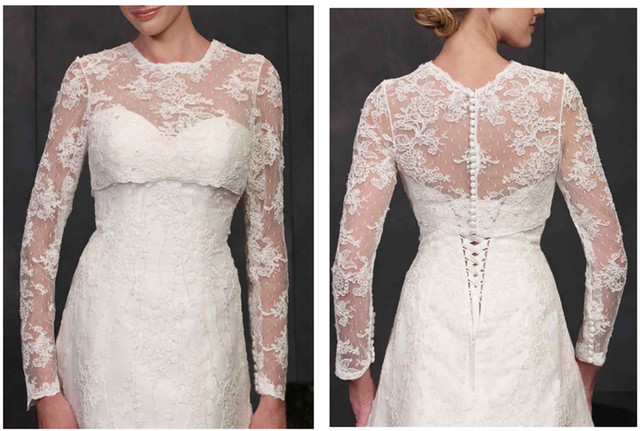 Long Sleeve Lace Ivory Shawl Bolero Wedding Jacket Bridal Shrug Wraps Custom Size T30