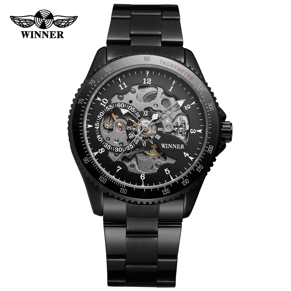 T-Winner Mechanical Skeleton Watch Automatic Self-Wind Watches Men Stainless Steel Clock Mens Watches Top Brand Luxury Relogio t winner fashion skeleton self wind mechanical wrist watch men boy automatic mens watches dress clock gift relogio masculino