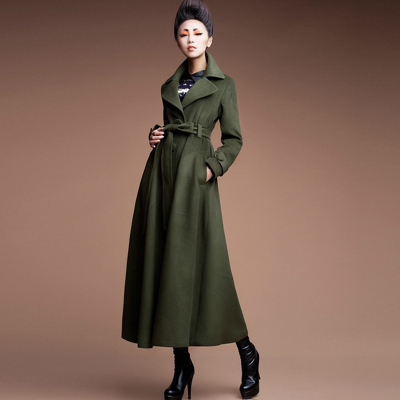 2017 fashion Autumn winter women wool overcoat long trench coat ...
