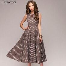 Capucines Elegante Vintage Dot Afdrukken A lijn Jurk Vrouwen Zomer Mouwloze O hals Halverwege De Kuit Casual Jurk Vrouwelijke Vestidos