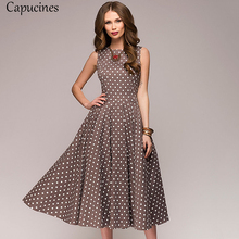 Capucinesエレガントなヴィンテージドットプリントaラインドレス女性の夏のノースリーブoネックミッドカーフカジュアルドレス女性vestidos