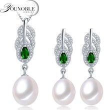 YouNoble Freshwater Pearl Jewelry Set Women,925 silver bridesmaid jewelry set bohemian sapphire best friends birthday gift white
