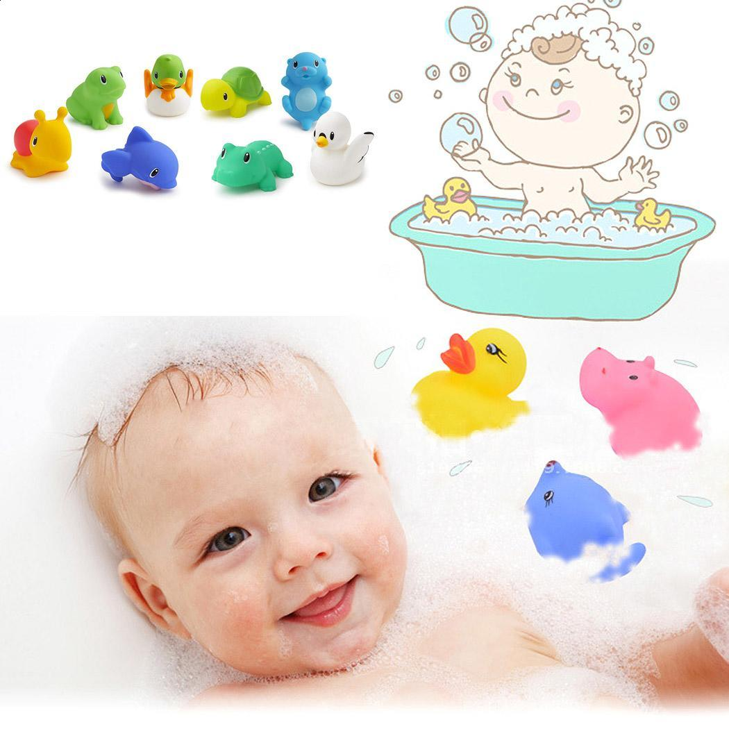 Classic Toys 6 Pcs Mixed Animals Swimming Water Toys Colorful Soft Floating Rubber Duck Squeeze Sound Squeaky Bathing Toy For Baby Bath Toys Toys & Hobbies