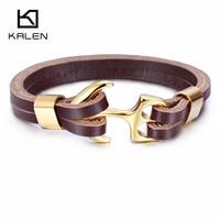 Kalen Men S New Trendy Leather Bracelet Stainless Steel Gold Plated Anchor Charm Personalised 21cm Bracelet