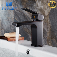 FYPARF Creative Brass Basin Sink Faucet Oil Rubbed Bronze Black Faucet Cold and Hot Deck Mounted Bathroom Faucet Basin Mixer Tap стоимость