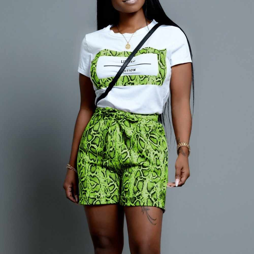 Sexy Summer Outfits New Women Short Sleeve Round Neck Top Elastic Snake Printed Short Pants Neon Green Two Piece Sets Tracksuit