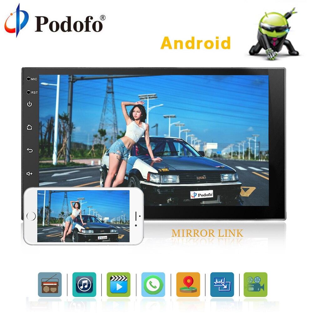 Podofo 2din android-автомагнитолы 7 Bluetooth автомобильного аудио стерео аудио gps навигации Мультимедийный USB FM Wi-Fi Универсальный Авторадио DAB +