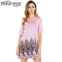 Meaneor 2017 Women S Casual Dress O Neck Half Sleeve Hem Prints A Line Elastic Knit