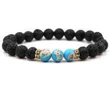15 Colors Black Lava Stone Imperial Chakra Beads Essential Oil Diffuser Bracelet Balance Yoga Pulseira Feminina Buddha Jewelry