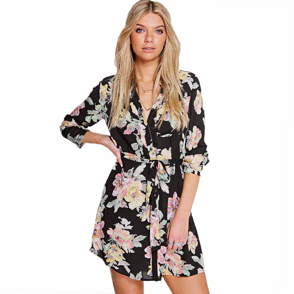 Sexy elegant floral long sleeve women shirt dress tunic Women s long sleeve shirt dress