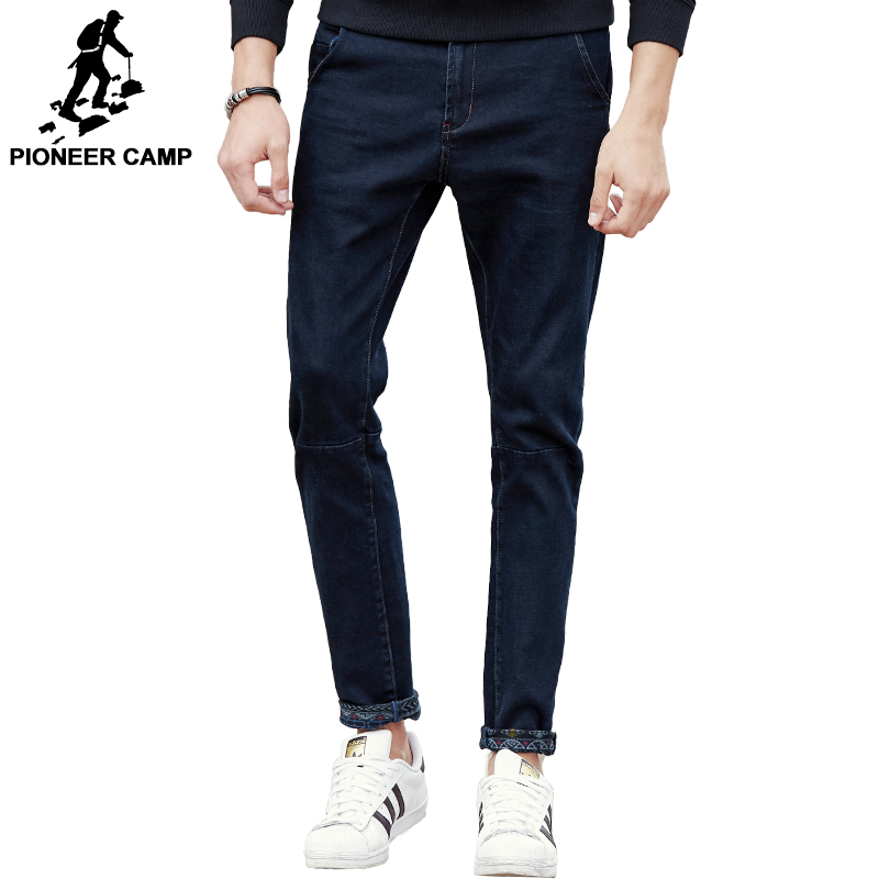Pioneer Camp New black thick jeans men brand clothing solid fashion male denim pants quality autumn winter denim trousers 611045 new fashion style hot sale autumn winter thick male jeans straight slim looking men full length pants heavyweight solid cozy
