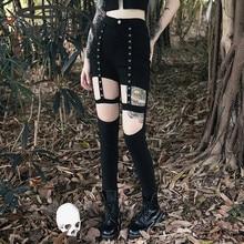 Imily Bela Black Gothic Bandage Leggings Women Sexy Pencil Pants Streetwear Womens Clothing Punk Autumn Baddie Trousers Bottoms