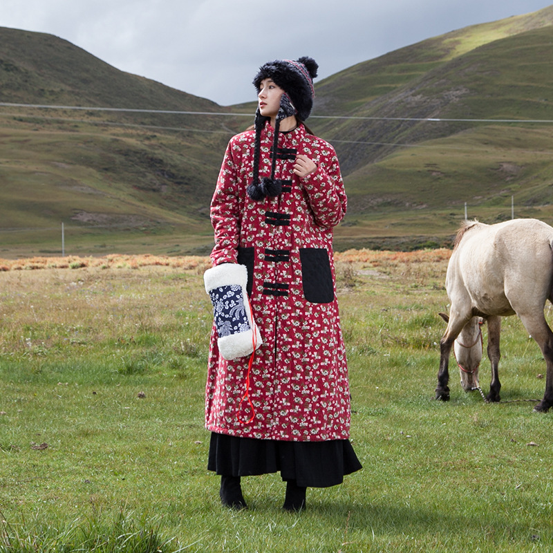 Cotone Rivestimento Disco Delle Inverno Donne A Rosso Nazionale Vestiti Lino Del Cappotto Doppio Di Creativo Fibbia Autunno Vento Stampa qEf44H