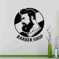 Free Shipping Man Barber Shop Wall Sticker Name Chop Bread Decal Haircut Posters Vinyl Wall Art Decals Decor Decoration Mural