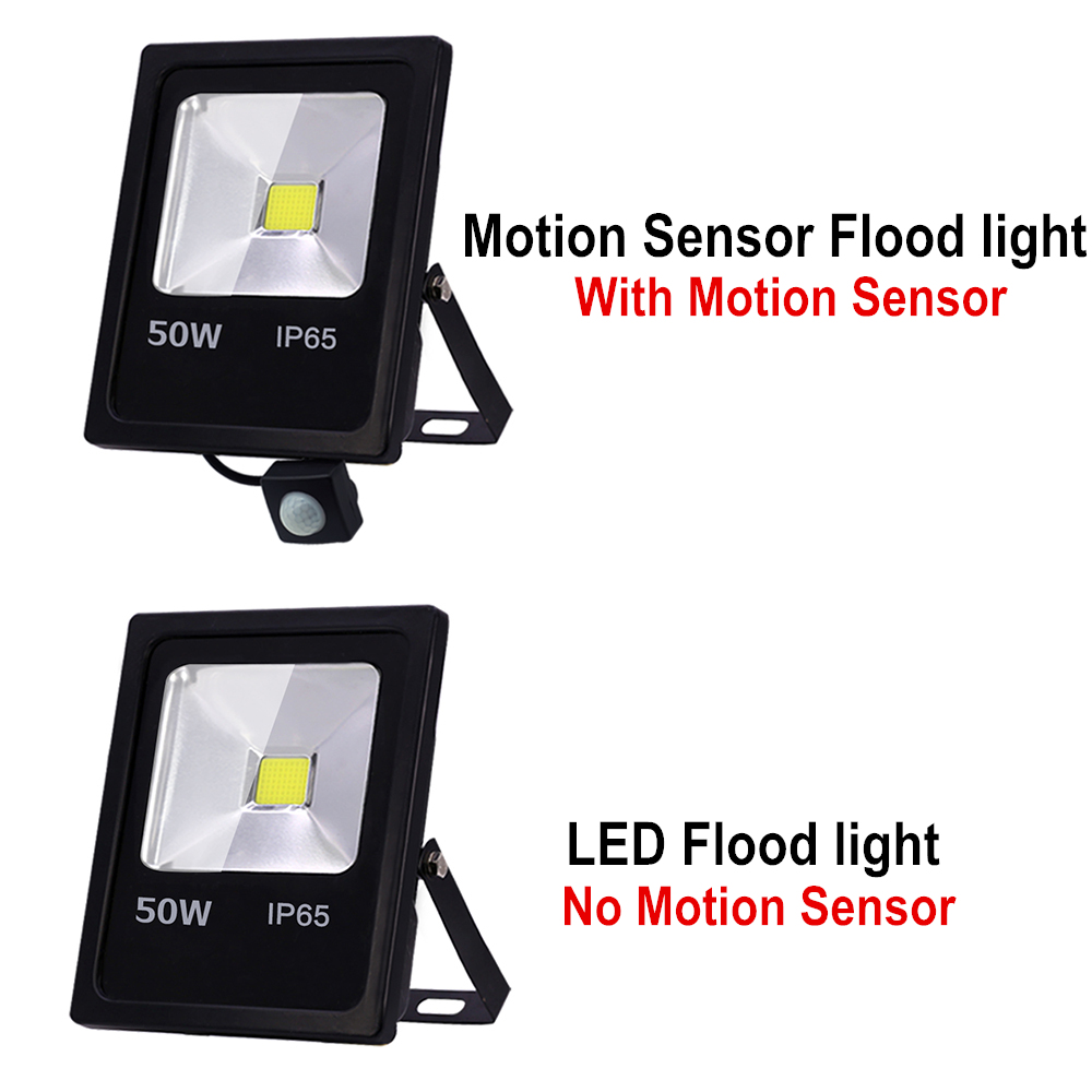 Motion Sensor LED Flood Light 10W 30W 50W 220V Floodlights searching lamp IP65 Reflector Outdoor lighting led exterior SpotLight in Floodlights from Lights Lighting