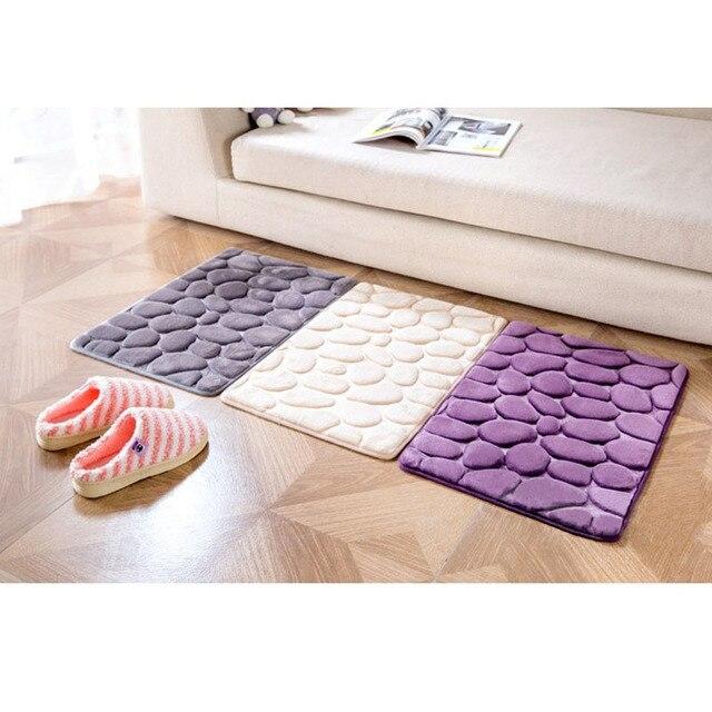 3D Cobblestone Carpet Bedroom Living Room Mats Kitchen Bathroom Doormat Absorbent Non Slip Entrance Foot