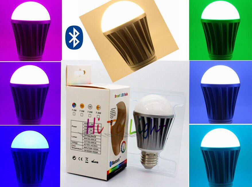 E27 7.5W bluetooth led bulb lamp AC100-240V colorful + warm white smart phone home products smart bulb e27 7w led bulb energy saving lamp color changeable smart bulb led lighting for iphone android home bedroom lighitng