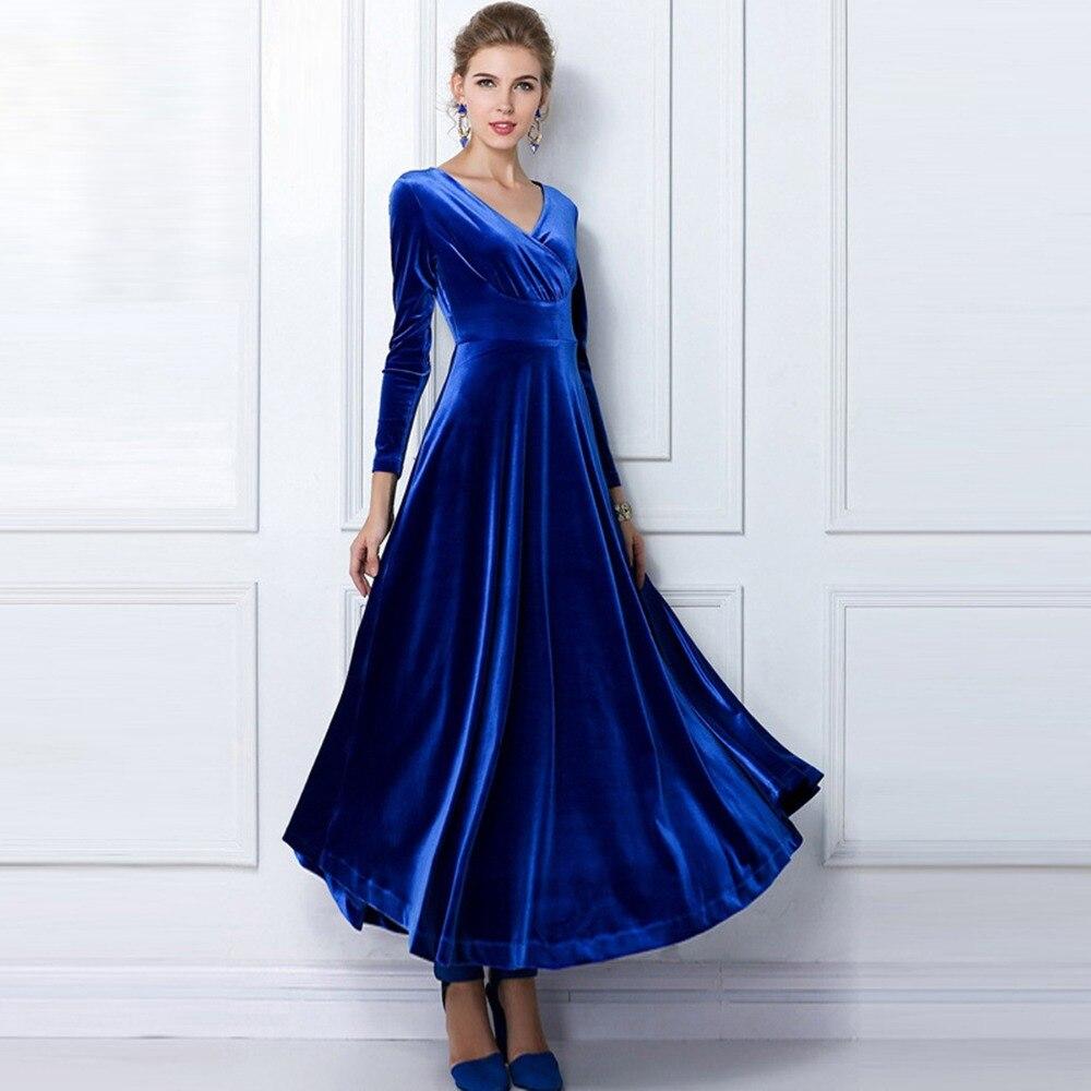 6bc1eda276b87 Printemps automne Femmes de mode Robe Vintage longue Sexy robes de Soirée  Grande Balançoire or velours Plus La Taille Femelle élégant maxi robe