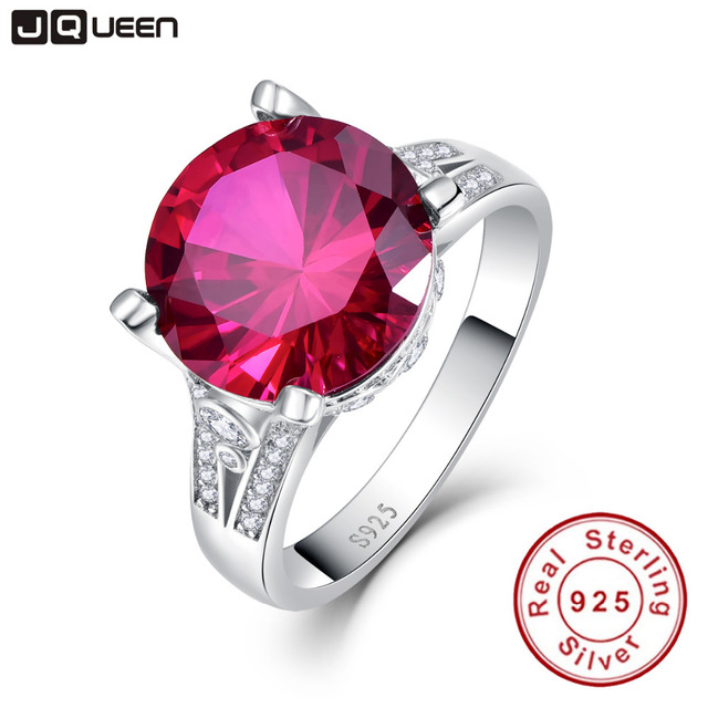 JQUEEN Luxury 8ct Red Ruby Gems Ring Women's Anniversary Wedding Set 925 Sterling Silver Round Cut High Quality Women Jewelry