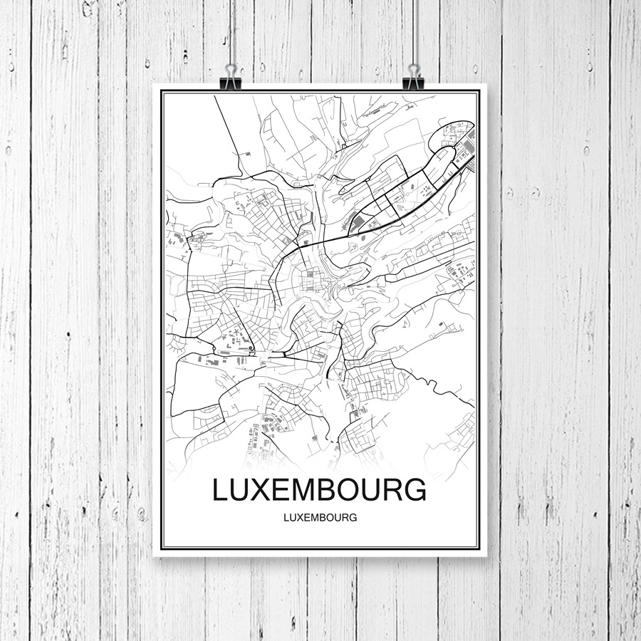 Hot Sale LUXEMBOURG World City Map Print Poster Abstract Coated Paper Bar Cafe Pub Living Room