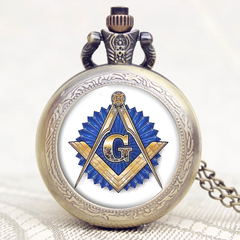 Masonic Free-Mason Freemasonry Design Antique Bronze Fob Pocket Watch With Chain Necklace Best Gift
