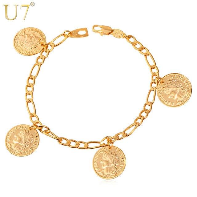U7 France Coin Charm Bracelets Fashion Gold Color Vintage Figaro Chain Bangles For Women