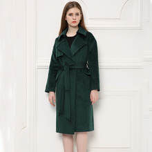 Elegant Turn-down Collar Blackgreen Ladies Woolen Jacket, Extra Long Design Women Winter Wool Jacket
