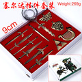 Free Shipping The Legend of Zelda Link Cosplay Swords Weapons Collectible Metal Keychains Pendant Key Chain Key Ring (12pcs set)