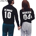 Women Tops Long Sleeve Harajuku Punk Sirt KING QUEEN Letter Printing Women T-Shirt Camisetas Mujer #2831
