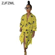 ZJFZML Casual Printed T Shirt Dress Women White Long Sleeve Front Split Party Yellow Turn-Down Collar Buttons