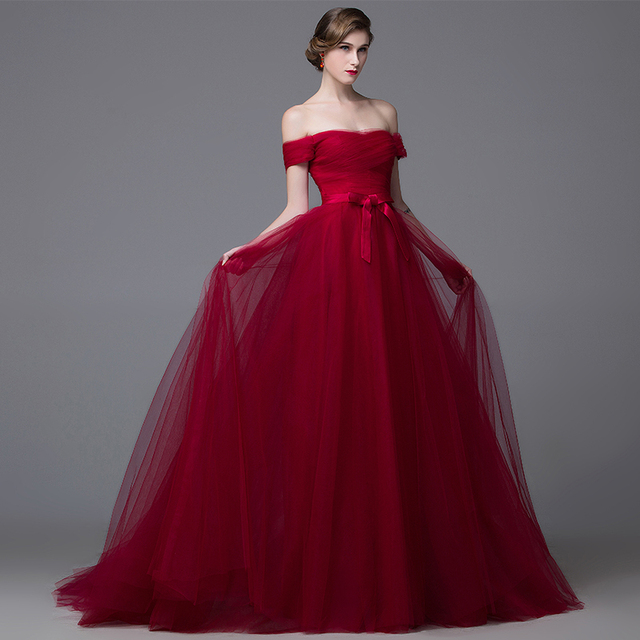 Vino Rojo Vestidos de Baile 2017 Del Partido de Tarde de Encaje de Tul Largo Vestido de Fiesta Vestidos de La Celebridad Sexy Vestido Formal Arco M2720