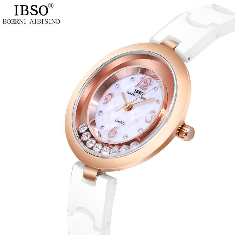 IBSO New Montre Femme Ceramic Strap Women Watches 2018 Shell Dial Ladies Watch Rotating Crystal Diamond Quartz Watch Women amica luxury crystal diamond blue shell dial womens quartz watch ladies watch