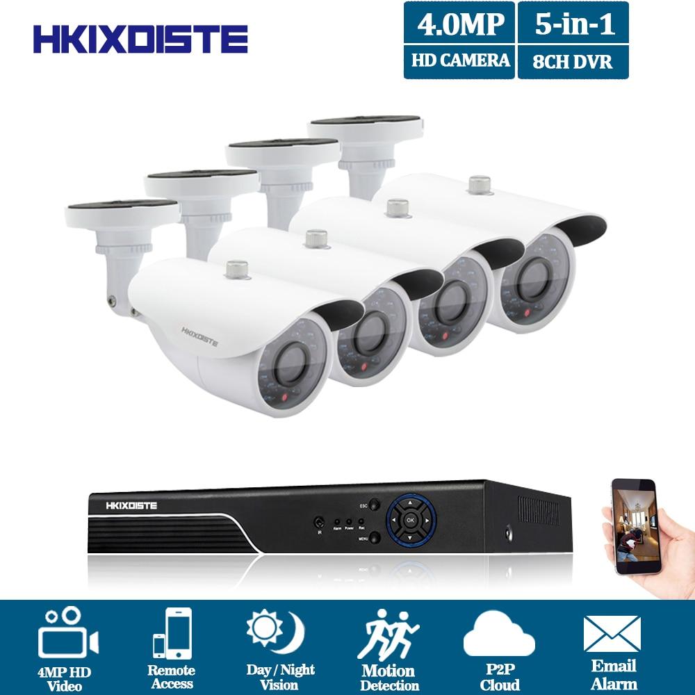 HKIXDISTE 8CH 5MP 4MP 1080P HDMI P2P TVI DVR Surveillance System 4MP Video Output 4PCS 4.0MP AHD Camera Home Security CCTV Kits 8ch 4mp 1080p hdmi p2p dvr ahd ip nvr surveillance system video output 8pcs 4 0mp ahd outdoor camera home security cctv kits