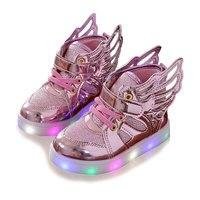 Parlayan sneakers çocuk Boys Kızlar için LED ayakkabı Melek Kanatları Çocuk light up ayakkabı ayakkabı Bebek prewalker toddler Spor ayakkabı
