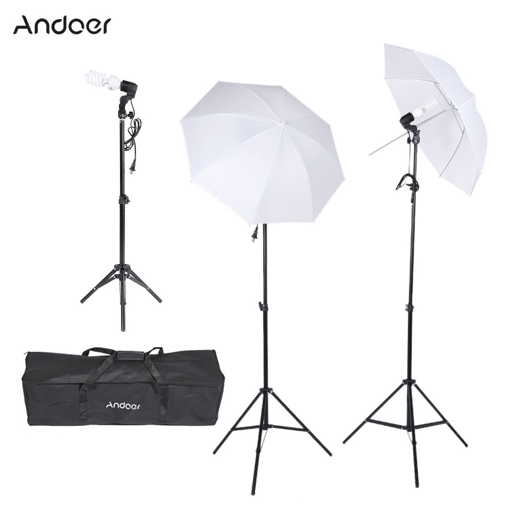 Andoer Photography Video Portrait Umbrella Continuous Lighting Kit with Bulbs E27 Swivel Socket Stand Umbrellas Carrying