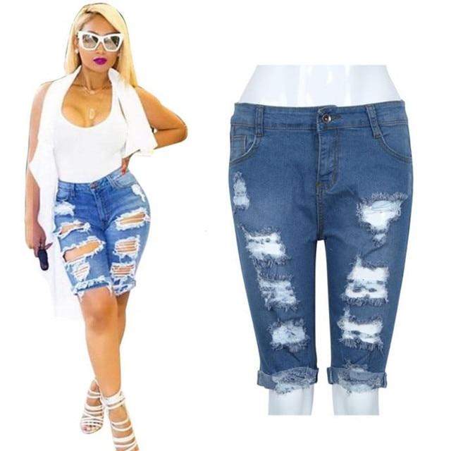 2018 pantalon femme sarouel Femmes Fille Sexy Jeans denim Summer Beach  Casual Trou Taille Haute jeans