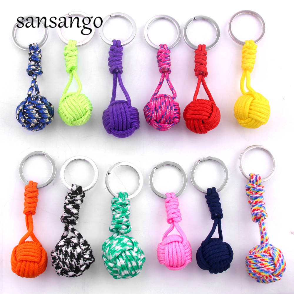 New Woven Paracord Lanyard Keychain Outdoor Survival Tactical Military Parachute Rope Cord Ball Pendant Keyring Key Chain