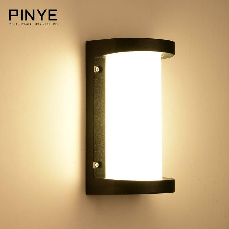 PINYE Modern LED Wall Lamps 18W Waterproof Porch Light Lighting Aluminum Courtyard Garden LaCorridor Outdoor Lighting PY006