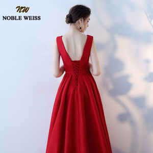 Image 5 - NOBLE WEISS Elegant Satin Red Prom Dresses Long Floor Length Special Occasion Gowns With Sexy V neck Girls vestido de festa