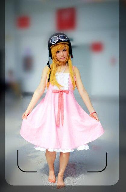 Bakemonogatari Nisemonogatari Oshino Shinobu lolita pink dress hat glasses Cosplay Costume Party Dress with hat