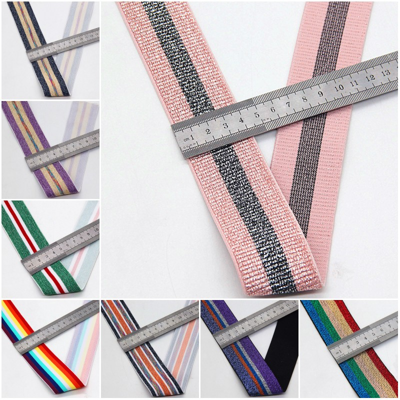 40MM Nylon Colorful Rubber Elastic Band Striped Shoulder Bottom Straps for Webbing Garment Sewing DIY Clothes Accessories 1m